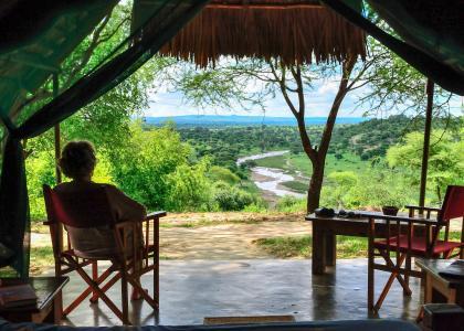 Fantastisk udsigt over Tarangire parken og floden, fra din egen terrasse