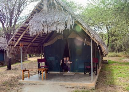De store luksustelte har flot udsigt over Tarangire